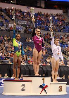 All-around champions Gabby Douglas (left), Jordyn Wieber (center) and Aly Raisman on the podium at the 2012 U.S. Championships. | Gymnastics | Gymnast #gymnastics #gymnast