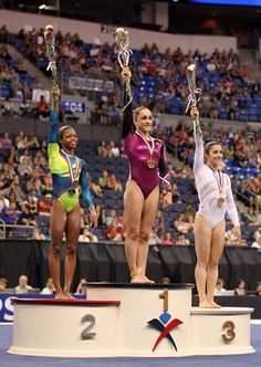 All-around champions Gabby Douglas 2nd (left), Jordyn Wieber 1st (center), and Aly Raisman 3rd, on the podium at the 2012 U.S. Championships.