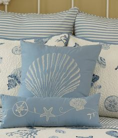 Sea Treasures Shells Pillow, bedding, etc., available through Country Curtains.