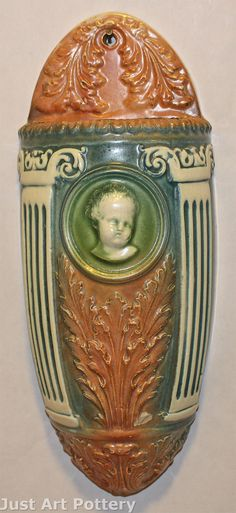 Roseville Pottery Cherub Cameo Large Wall Pocket from Just Art Pottery
