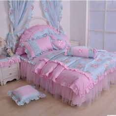 Blue Pink Gilrs Lace  Princess Pastoral Ruffled Bowtie  Bedding