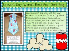 """""""Pop, pop, fizz, fizz ~ you're the best Dad there is!"""" - Kid project for Father's Day.  Decorate a brown bag, attach the poem, & fill bag with soda {fizz} & specialty popcorn {pop}.  So fun!  Order flavored popcorn from Tastebudspopcorn.com ."""