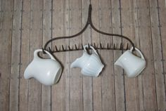 Rusty Iron Garden Rake Head - Wall Hanging - Wine Glass Holder - Jewelry Holder - Kitchen Utensil and Rolling Pin Holder by littlewoodenhouse on Etsy