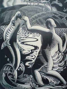 Gertrude Hermes - Tobias and the Fish - ltd ed print - rare, beautifully mounted