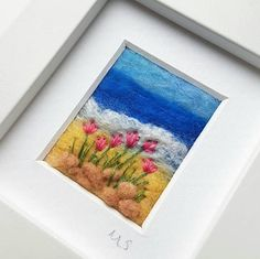 Sea thrift on the beach original textile art by Tilly Tea Dance https://www.etsy.com/uk/listing/528800245/flowers-on-the-beach-a-miniature-felted