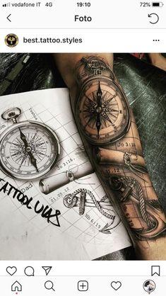 Kompass - - - Kompass – – - tattoo designs ideas männer männer ideen old school quotes sketches Forarm Tattoos, Map Tattoos, Forearm Sleeve Tattoos, Best Sleeve Tattoos, Tattoo Sleeve Designs, Tattoo Designs Men, Body Art Tattoos, Tattoo Arm, Sea Tattoo