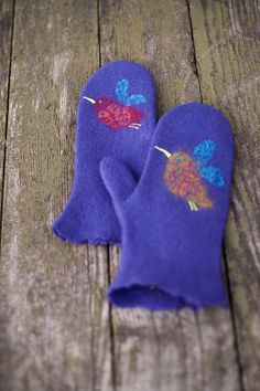 Felted mittens purple with birds --- Handmade to Order. $39.00, via Etsy.