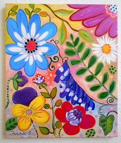 Whimsical Blumen Malerei Original Art 20 x 24 von irinashop auf Etsy
