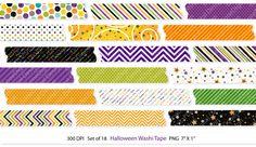 Halloween Washi Tape Transparent Clip Art Set by GoneDigital