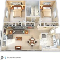 apartment floor plans between oakville and germantown 2 Bedroom House Plans, Sims House Plans, House Layout Plans, Modern House Plans, House Layouts, House Rooms, Loft House, Sims 4 Houses Layout, 2 Bedroom House Design