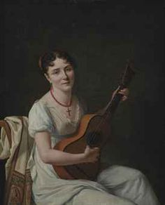 French School, c. 1810   A lady playing a guitar   Christie's