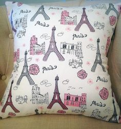 Eiffel Tower Pillow Covers Pink, Silver and White Glitter Paris Cafe Themed Throw Pillow Slipcovers Pink Girl's Room or Dorm Room