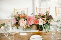 Wooden box autumn centerpieces full of billowing dahlias.  Grown and designed by Love 'n Fresh Flowers.  Photo by Maria Mack Photography.