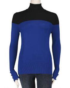 Color Blocked Turtleneck Sweater