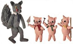 Big Bad Wolf and Three Little Pigs Stuffed Toys Vintage Knitting Pattern for download