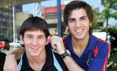 Cesc Fabregas y Messi jovencitos.