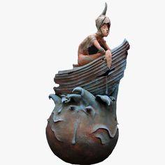 Kunst - keramiek beeld - Christien Dutoit - De overlever