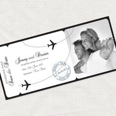 printable save the date boarding pass photo card digital file airline ticket wedding announcement engagement plane - come fly with me design by idoityourself on Etsy
