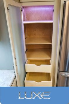 Real wood cabinetry in our Luxe luxury fifth wheels. Dove tailed drawers for stability and strength Fifth Wheel Living, Luxury Fifth Wheel, Luxury Rv, 5th Wheels, Rv Living, Real Wood, Bathroom Medicine Cabinet, Drawers, Stability