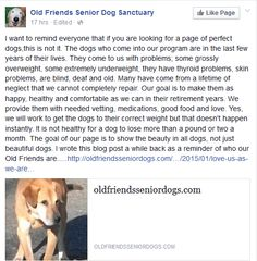 "I thought this was a great post from an animal rescue. It's honest and to the point - because it's not about ""perfect"".  It's about the reason we rescue.  here's where the original post was.... https://www.facebook.com/OldFriendsSeniorDogSanctuary/posts/909454339131781  #love #rescue #savealife"