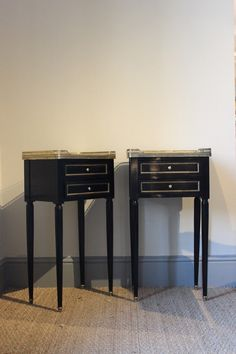 Pair of Late 20th century Ebonised Bedside Tables