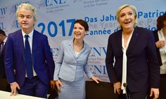 Geert Wilders, Frauke Petry and Marine Le Pen at a conference of European rightwing parties, January 2017