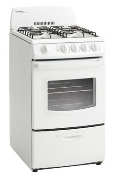 """DR201WGLP 20"""" Gas Range with 2.4 cu. ft. Oven Capacity, 4 Open Burners, Large Oven Window with Interior Light, Electronic Ignition and Easy Clean, Lift-Up Porcelain Cooktop in White"""