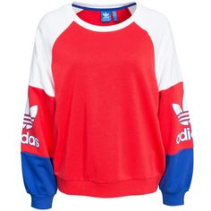 Adidas Originals La Crew Sweat (£60) ❤ liked on Polyvore featuring tops, hoodies, sweatshirts, sweaters, shirts, jumpers & cardigans, tomato, womens-fashion, red top and logo shirts