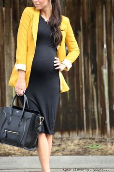 sexy maternity work outfit with a black dress and a yellow blazer plus a large black tote Stylish Maternity, Maternity Wear, Maternity Dresses, Maternity Fashion, Maternity Style, Maternity Business Casual, Maternity Work Clothes, Spring Maternity, Pregnancy Fashion