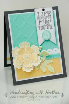 Life is Wonderful Card featuring Perfect Pennants, Mixed Bunch, & Flower Shop Stamp Sets from Stampin' Up!  Heather Van Looy, Independent Stampin' Up! Demonstrator in Johns Creek, GA.  Follow my blog for more great project ideas (www.handcraftingwithheather.com)