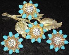 HAR Turquoise Blue Bead & Rhinestone Flower Pin Earring Set