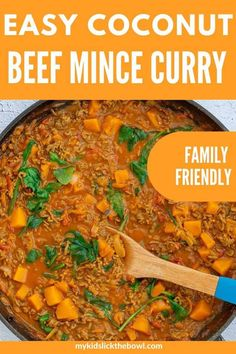 Easy Coconut Beef Mince Curry This Coconut Beef Mince Curry is absolutely delicious! Perfect for sneaking vegetables into your kids diet, this recipe calls for 5 different veggies, and is ready in under 40 minutes! Freezer friendly for busy families! Slow Cooker Mince, Slow Cooker Recipes, Cooking Recipes, Scd Recipes, Cooking Ideas, Easy Recipes, Minced Beef Recipes Easy, Beef Mince Recipes, Mince Meals
