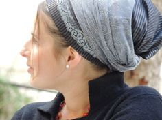Sparkling Grey Sinar TichelHair Snood Head ScarfHead