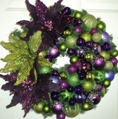 Purple and Lime Green Christmas Wreath