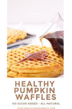 My Healthy Pumpkin Waffles are all-natural and contain no added sugar! They are easy to make for breakfast or brunch and freeze well so make a batch to enjoy anytime! #pumpkinwaffles #fallfoods #healthywaffles #makeaheadrecipe #breakfastrecipe Quiche Recipes, Appetizer Recipes, Breakfast Ideas, Breakfast Recipes, Healthy Waffles, Pumpkin Waffles, Magic Recipe, Make Ahead Meals, Healthy Pumpkin