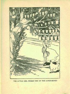 Ozma of Oz, Little Girl Picked Lunchbox, L. Frank Baum, Vintage Illustration circa 1930 Wizard of Oz