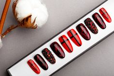 Red & Black Press on Nails with Swarovski Crystals  Hand