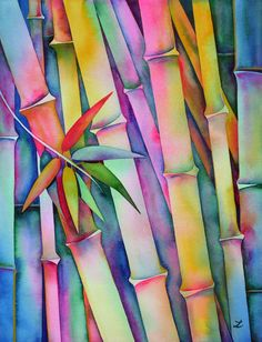 """ARTFINDER: Seven Leaves of Bamboo by Zaira Dzhaubaeva - Mysterious rainbow bamboo. Framed original watercolor painting on 300 gsm cold pressed Arches watercolor paper. """"The bamboo in its simplicity expresses. Watercolor Negative Painting, Arches Watercolor Paper, Watercolor Paintings, Original Paintings, Original Art, Watercolor Leaves, Watercolours, Painted Bamboo, Bamboo Art"""