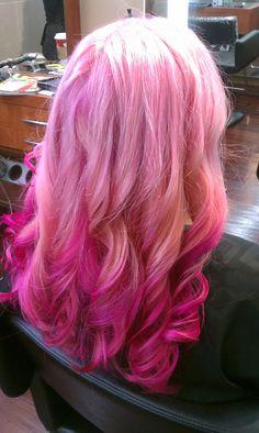 Baby Pink, Pastel, Dip Dye, Pink on pink, magenta, hot pink, pravana, funky, bright, pink hair, hair, curls