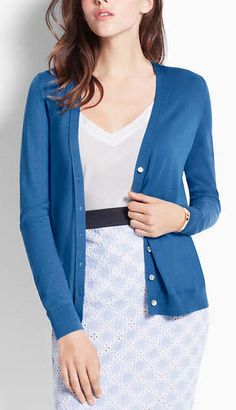 Love this blue cardigan|Ann Taylor