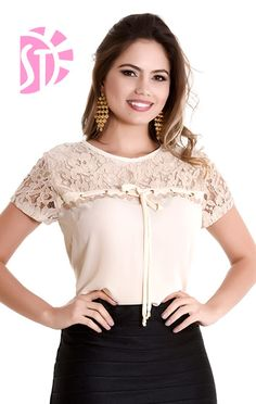 Cute pink lace tops ,need to try Casual Outfits, Fashion Outfits, Womens Fashion, Super Moda, Nude Tops, Look Office, Business Outfits, Dress Patterns, Blouse Designs