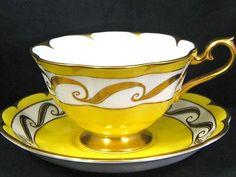 Royal Albert Yellow Art Deco Gold Fluted Tea Cup and Saucer