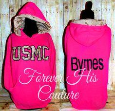 USMC varsity style pullover USMC Wife usmc by ForeverHisCouture