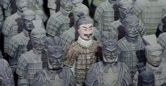 Terracotta warriors from the tomb of the first Emperor of China Qin Shi Huang (d. 210 B.C.)  in Xian,China