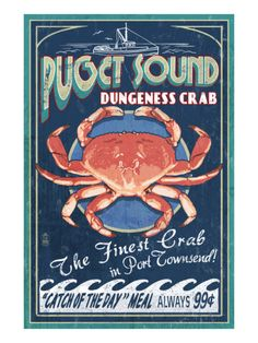 Port Townsend, Washington - Dungeness Crab Poster by Lantern Press at AllPosters.com