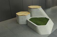 urban furniture Particle Green by Ewelina Madalińska, via Behance