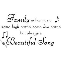 Family is like music some high notes, some low notes but always a beautiful song -Vinyl Wall Saying