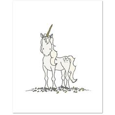 Sweet Melody Designs Wild Unicorn 8'' x 10'' Art Print ($12) ❤ liked on Polyvore featuring home, home decor, wall art, unicorn home decor and unicorn wall art