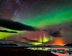 Jokulsarlon Lagoon, Iceland. In this picture you can see the amazing northern lights, part of the milky way and even the erupting Bardarbunga volcano