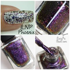 ILNP Phoenix - multichrome flakie polish shifting from navy blue through purple to fiery reddish orange and gold shades. Love Nails, Indie Brands, Nail Art Designs, Swatch, Chrome, Nail Polish, Navy Blue, Purple, Phoenix
